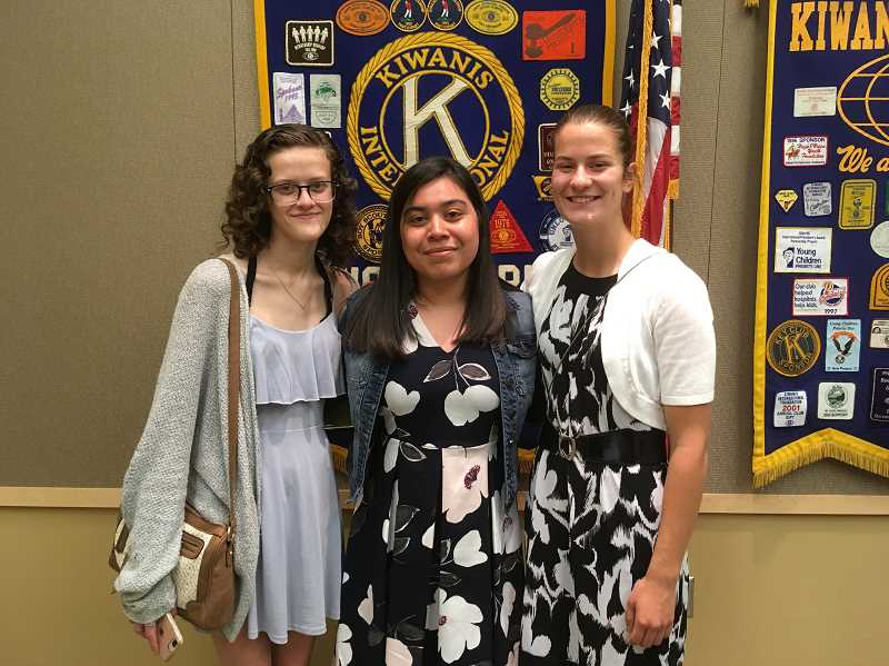 LINDSAY KEEFER - (From left) Cara Nixon, Yulissa Cruz and Natali Herinckx attended the Woodburn Kiwanis luncheon honoring scholarship winners. Uriel Cruz Salgado, also a scholarship recipient from the club, was unable to attend.