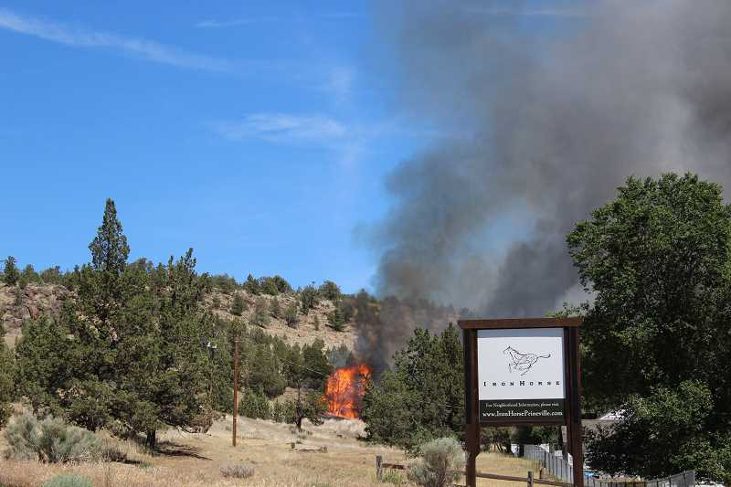 JASON CHANEY/CENTRAL OREGONIAN - A fire started early Tuesday afternoon in northeast Prineville.