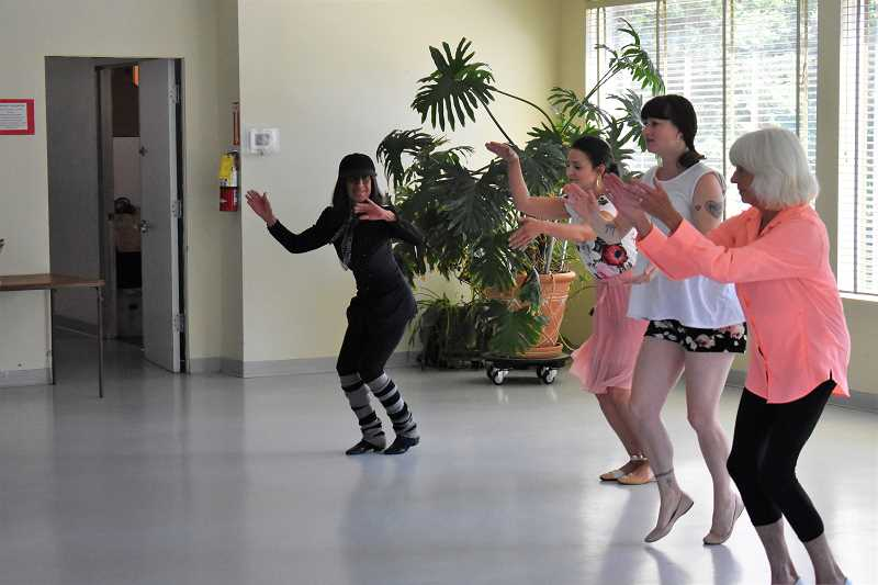 ESTACADA NEWS PHOTO: EMILY LINDSTRAND - Elaine Leatham leads Avery Davis, Alycia Schieberl and Kathy Erickson during a rehearsal for the upcoming Touch of Class dance show.