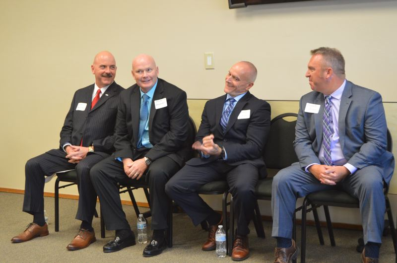 The top four candidates being interviewed for police chief for the St. Helens Police Department attended a public meet and greet session Tuesday, June 26. From left to right the candidates are Scott Heweston Sr., Brian Greenway, Mike Lester and Joe Hogue.