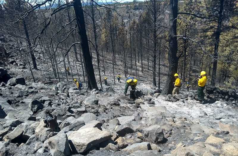 DON COLFELS PHOTO - Firefighters mop up the hillside adjacent to the Three Rivers area, where the Graham fire took off.