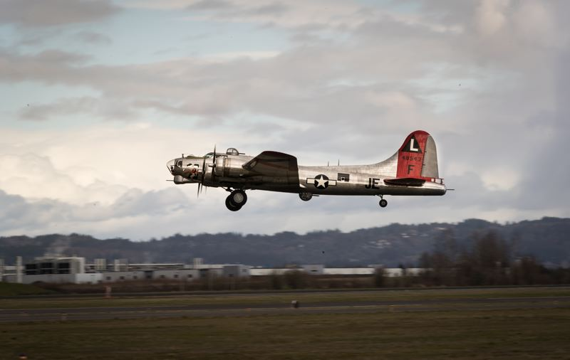 STAFF PHOTO: JAIME VALDEZ - A World War II-era B-17 takes off from the Hillsboro Airport in 2017. The airport has been considering a series of new developments, including new restaurants and shops.