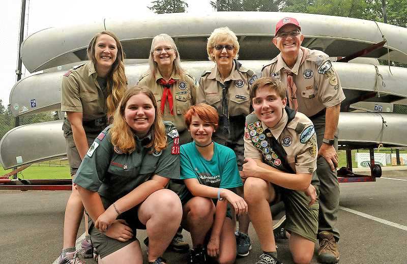 TIDINGS PHOTOS: VERN UYETAKE - (Back row, left to right) Claire Osterman, Lanell Bennett, Laura Schwerin and John Cimral are helping (front row, left to right) Julianna Cimral, Zoey Leisey and Nathan Cimral start a new BSA girls troop.
