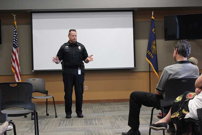 TIDINGS PHOTOS: PATRICK MALEE - West Linn Police Chief Terry Kruger answered questions during a town hall meeting that was attended by more than 20 residents.