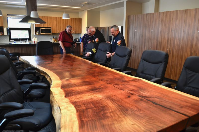 POST PHOTO: BRITTANY ALLEN - Included in the new fire station kitchen is a large table made from the Sequoia tree, which used to stand in front of the old station.