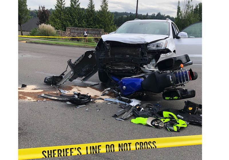 PHOTO COURTESY: CCSO - A motorcyclist died in a crash with a car on Highway 224 in Clackamas County on June 27.