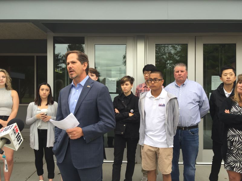 PARIS ACHEN/CAPITAL BUREAU - Rep. Knute Buehler, GOP nominee for governor, outlines his public education plan during a news conference at Davis Elementary School in Gresham June 28, 2018.