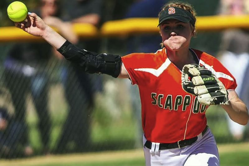 SPOTLIGHT FILE PHOTO - Scappoose's Hannah Galey (shown here during a softball game against Banks) is working hard this summer to prepare for her freshman year at Oregon in beginning in the fall.