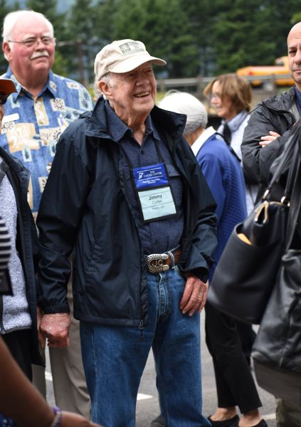OUTLOOK PHOTO: MATT DEBOW - Jimmy Carter arrives at Multnomah Falls on Thursday, June 28. He toured the falls for about 30 minutes.