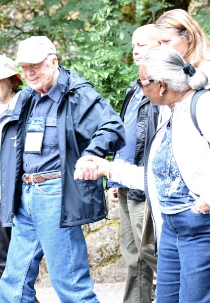 OUTLOOK PHOTO: MATT DEBOW - Norma Brown shakes hands with former President Jimmy Carter on Thursday, June 28.