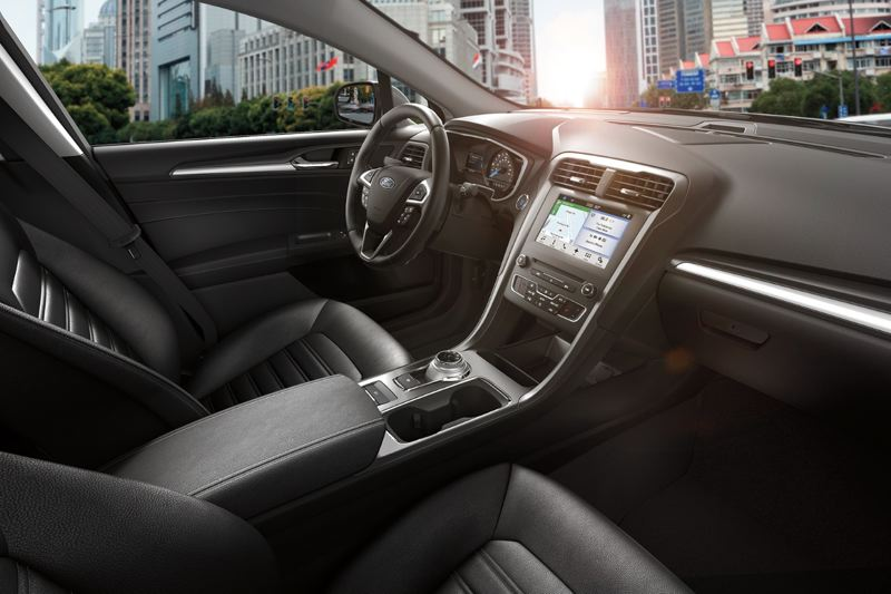 COURTESY FORD - The interior of the 2018 Ford Fusion Energi is clean and contemporary, with a choice of available leather seats and trim.