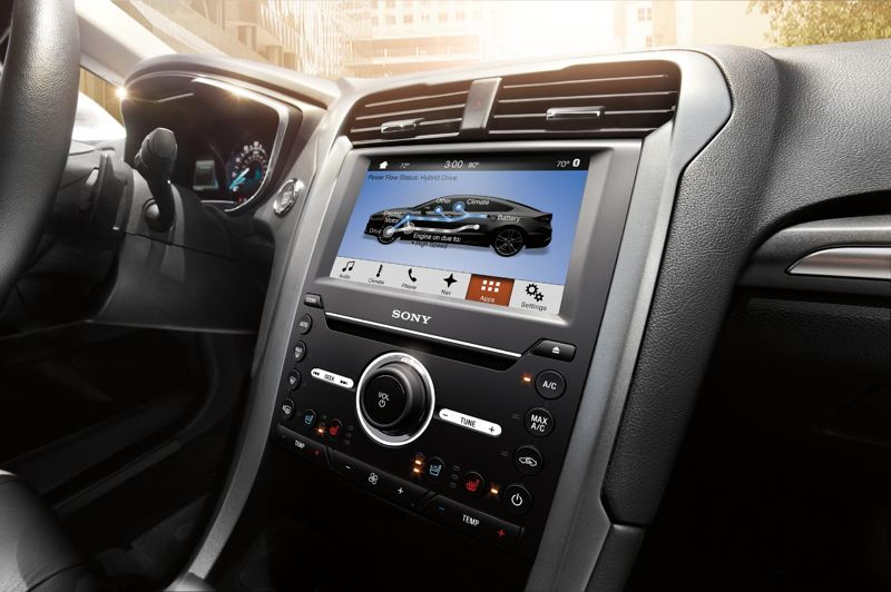 COURTESY FORD - Information on the plug-in hybrid system can be dislayed on the large screen.