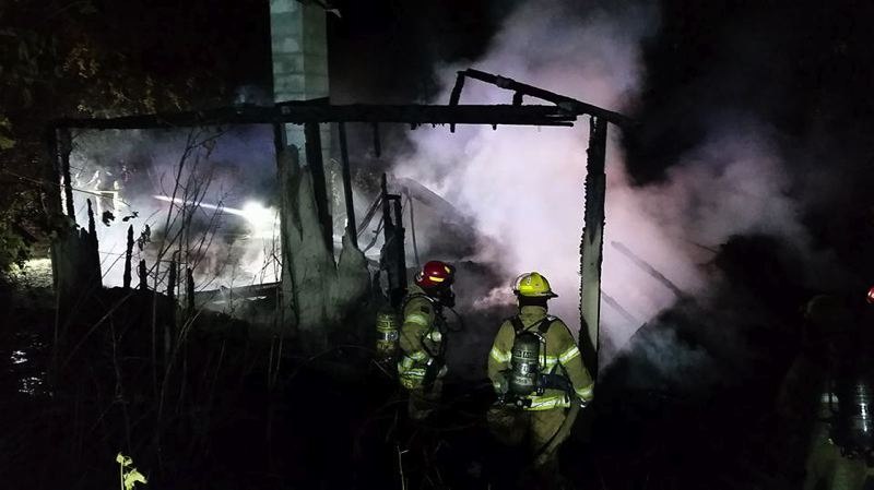 COURTESY PHOTO: BANKS FIRE DISTRICT - A detached garage in the vicinity of Buxton was consumed by fire Thursday night, June 28, the Banks Fire District said.