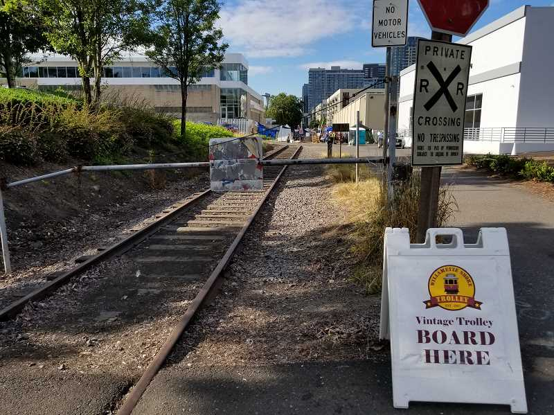 REVIEW PHOTO: ANTHONY MACUK - The protest is blocking the Willamette Shore Trolley from reaching its station at the north end of the line. Trolley manager David Harold says he's concerned that an indefinite protest would threaten the nonprofit trolley's revenue.
