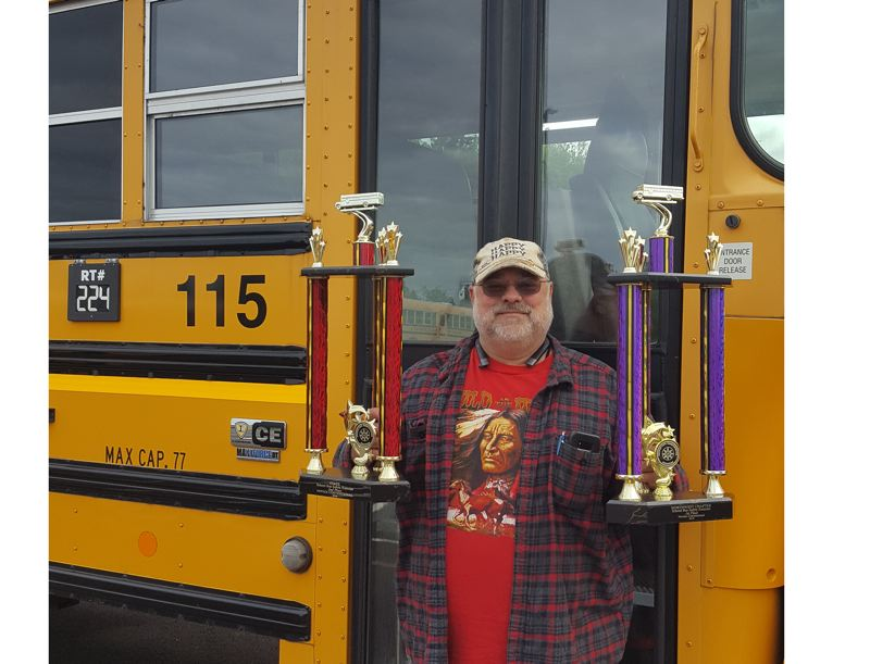 PHOTO COURTESY: LESLIE ROBINETTE - David Marquardt, a new bus driver for the Oregon City School District, won two awards in state and regional safety competitions last month.