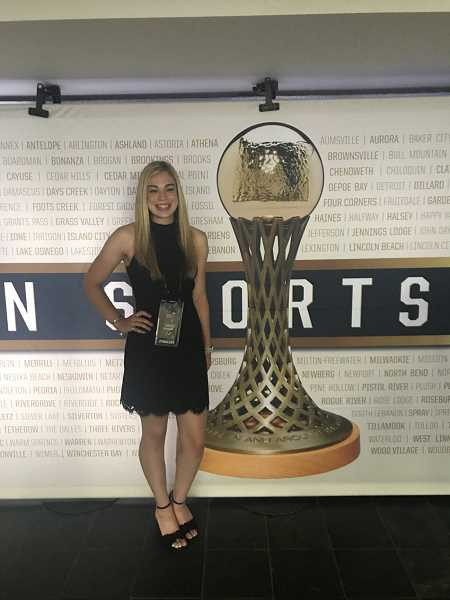 COURTESY PHOTO - Glencoe's Isabel Womack poses for a photo on the red carpet outside the Oregon Sports Awards at the Stanford Theatre at Nike World Headquarters, Wednesday, June 20.
