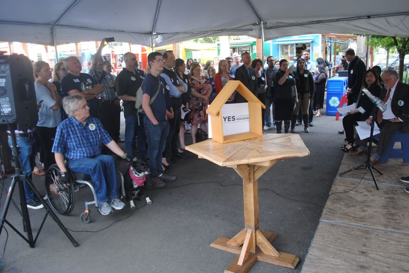 CONTRIBUTED: YES FOR AFFORABLE HOUSING - The campaign in support of Metro's affordable housing bond kicked off June 21 with a press conference by supporters at the city-supported Portland Mercado food cart pod and gathering area at Southeast 72nd Avenue and Foster Road.