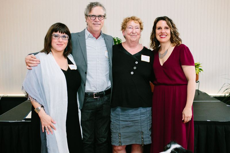 COURTESY: ASHLEY COURTER - FROM LEFT: Commissioner Chole Eudaly, film director Todd Haynes, Outside In executive director Kathy Oliver and Multnomah County Chair Deborah Kafoury pose for a photo on Thursday, June 21.