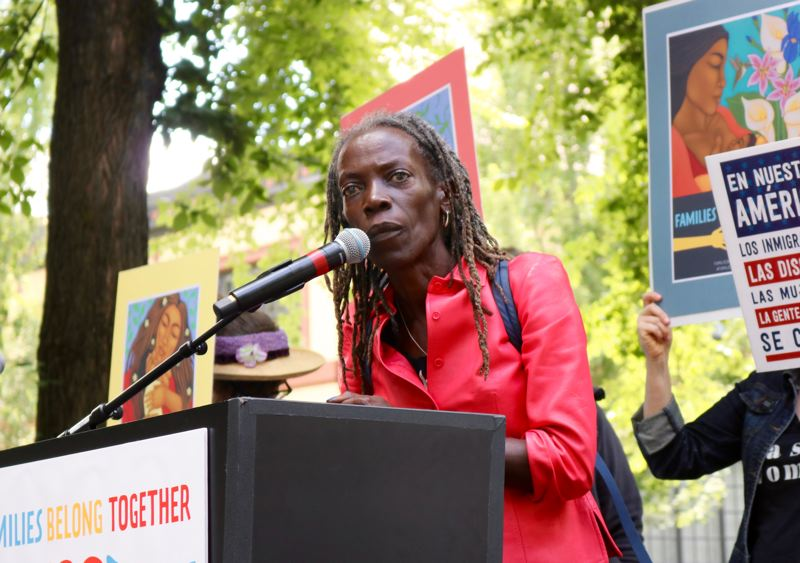 TRIBUNE PHOTO: ZANE SPARLING - Jo Ann Hardesty spoke during the 'Families Belong Together' protest on Saturday, June 30 in downtown Portland.