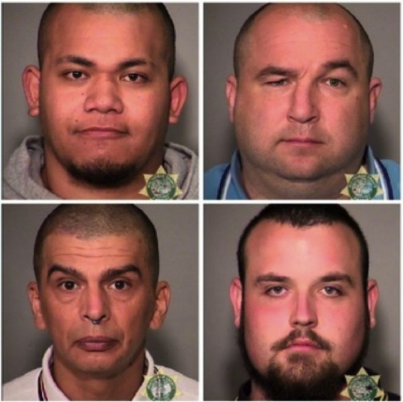 (Image is Clickable Link) POLICE PHOTOS VIA KOIN 6 NEWS - Booking photos of Tusitala Toese (top left), Mattew Braddock (top right), Luis Marquez (bottom left) and Donovan Flippo (bottom right) from June 30, 2018.