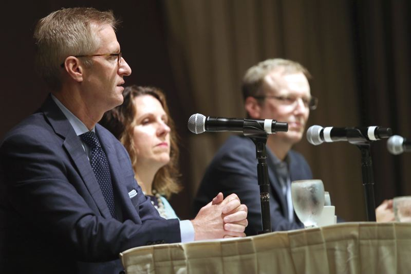 PAMPLIN MEDIA GROUP: JESSE DARLING - At a recent Portland Business Alliance breakfast discussion, panelists (L-R) Ted Wheeler, Deborah Kafoury and Marc Jolin talked up their accomplishments in reducing homelessness. Mayor Wheeler and talked about how the proceeds from the proposed increase of the citys Business License Tax to 2.6 percent would be spent.