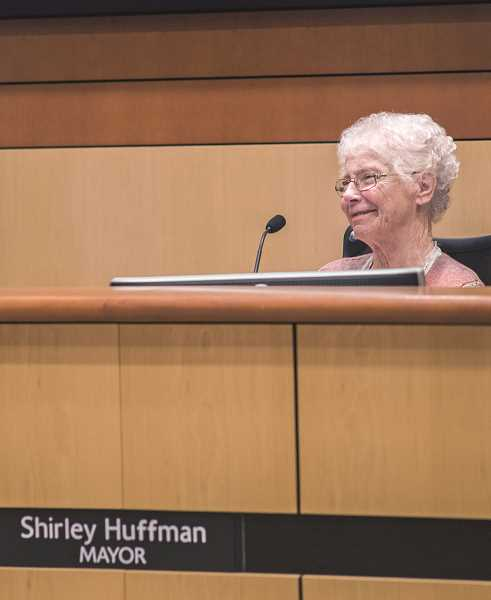 STAFF FILE PHOTO - Former Hillsboro Mayor Shirley Huffman sits at the dais during a meeting in 2015. Huffman attended a ceremony in 2015 to name the council's auditorium in her honor.