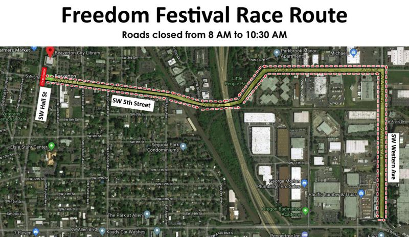 Route of Wednesday's run in downtown Beaverton.