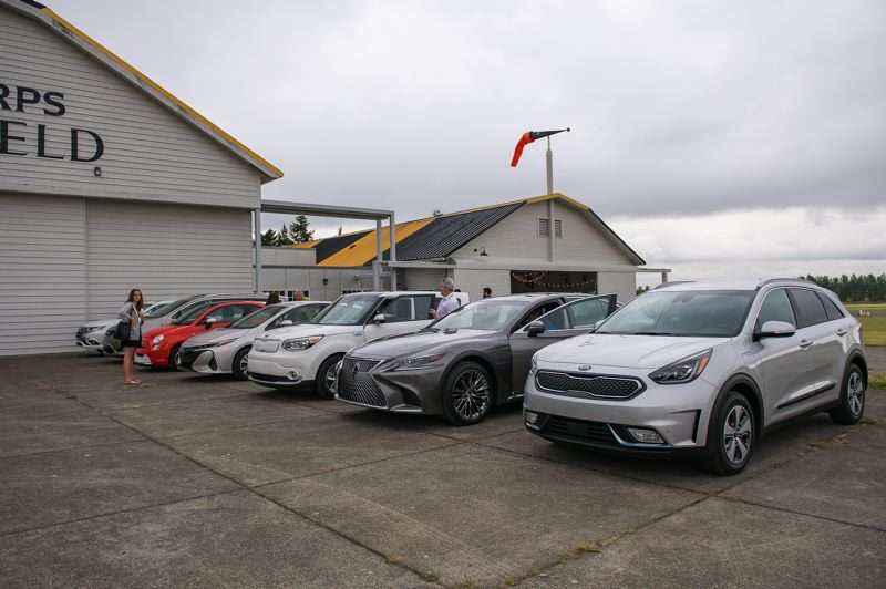 COURTESY OF DOUG BERGER, NWAPA - Some of the electrified vehicles recently tested by the Northwest Automotive Press Association at the Pearson Air Museum. All get great mileage but cost more than comparable gas-only vehicles.