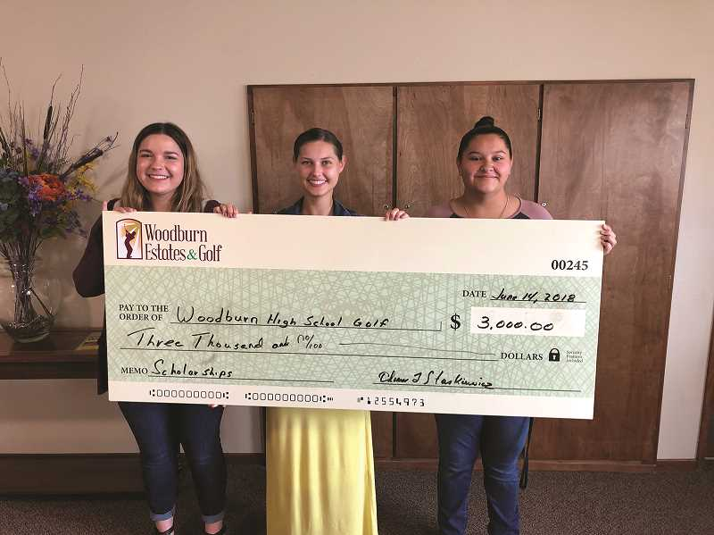 COURTESY PHOTO - (From left) Brynn Tupper, Efrosenya Toran and Maddie Castro were each awarded a $1,000 college scholarship from Woodburn Estates & Golf, which raised the money in April from its inaugural Tulip Tee-Off golf tournament to support Woodburn High School golf team seniors.