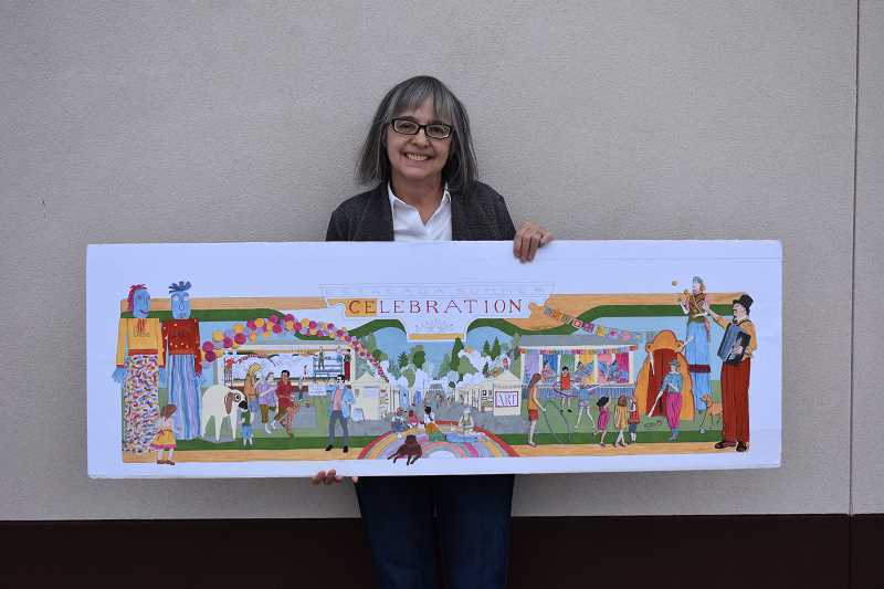 ESTACADA NEWS PHOTO: EMILY LINDSTRAND - Nolene Triska is one of the lead artists for Artbacks 2018 mural project Celebration of Summer. She stands in front of the murals future location on the Dollar General building while holding an in-progress sketch of its design.
