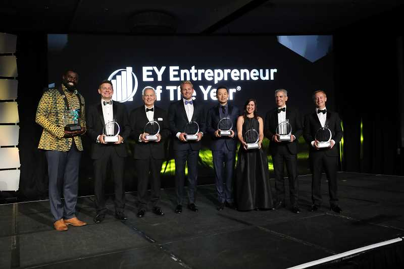 Entrepreneur of the Year 2018 Pacific Northwest Award Winners. Mike Fritz of DWFritz Automation is on the far right.