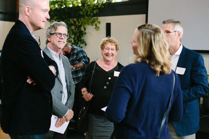COURTESY ASHLEY COURTER - Bryan OKeefe, film director Todd Haynes, Kathy Oliver, Kelly Anderson, and Mayor Ted Wheeler celebrate Outside Ins 50th anniversary on Thursday, June 21.