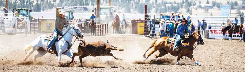 LON AUSTIN/CENTRAL OREGONIAN - Austin (right) and Dayton Stafford make a team roping run Saturday morning during slack. The Prineville brothers team placed third in the average in the event with a time of 18.6 seconds on two head.