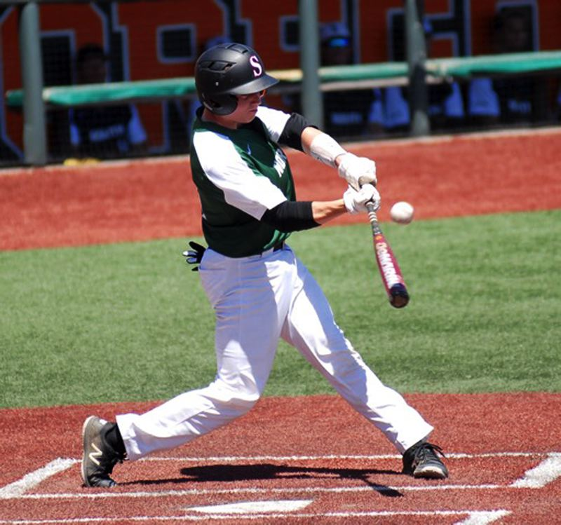 PAMPLIN MEDIA GROUP: MATT RAWLINGS - Hayden Gilbert, a 2018 Sherwood grad playing for the North team, gets his bat on the ball during the Oregon All-Star Series.