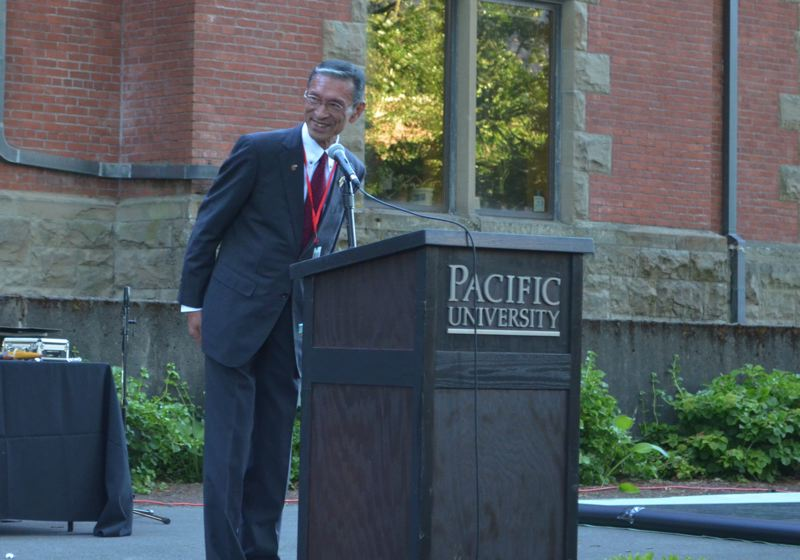 STAFF PHOTO: MARK MILLER - Mayor Haruhito Sasajima of Nyuzen, Japan, thanked the people of Forest Grove for their hospitality at a formal dinner and gala Tuesday evening on the Pacific University campus.