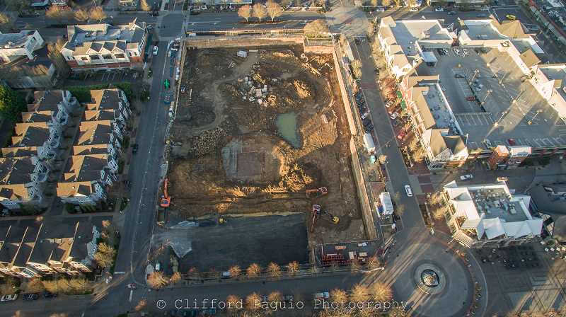 REVIEW PHOTO: CLIFFORD PAGUIO JR. - By February 2016, crews had finished digging and shoring the pit to house The Windward's underground parking garage and began work on the foundations for the development's three buildings.
