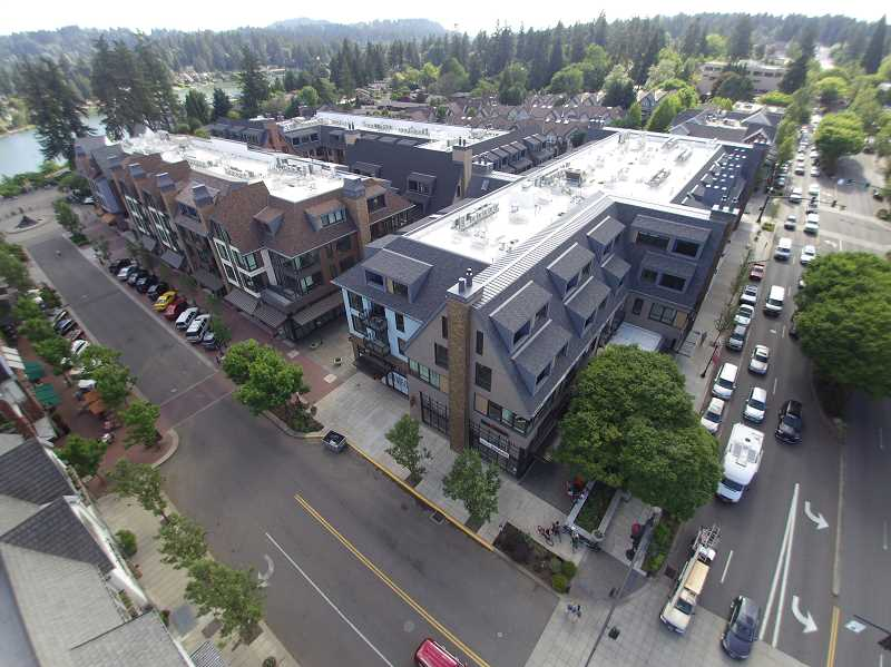 REVIEW PHOTO: ALVARO FONTAN - When visitors head for The Windward's Grand Opening Celebration on July 12, this is what they'll see: a completed mixed-use project that is already home to residents and businesses in the heart of downtown Lake Oswego.