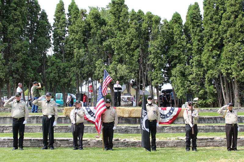 JASON CHANEY/CENTRAL OREGONIAN - The Band of Brothers leads park visitors in the Pledge of Allegiance.