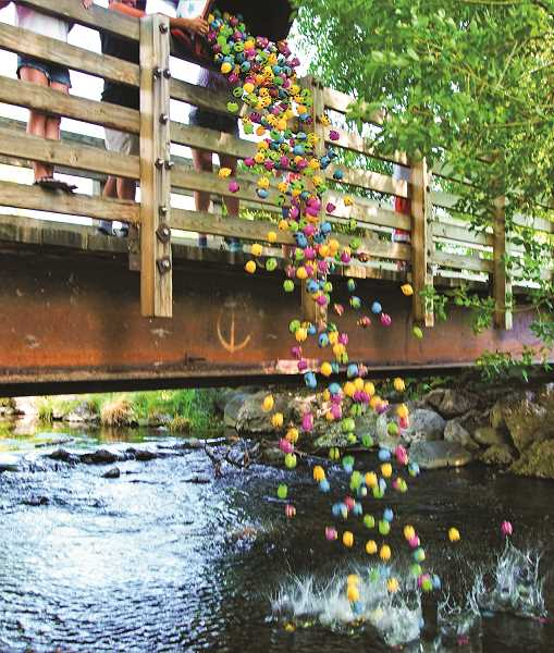 VALERIE OLSON/FOR THE CENTRAL OREGONIAN - CASA's annual Great Fish Race begins at the Ochoco Creek Park footbridge.