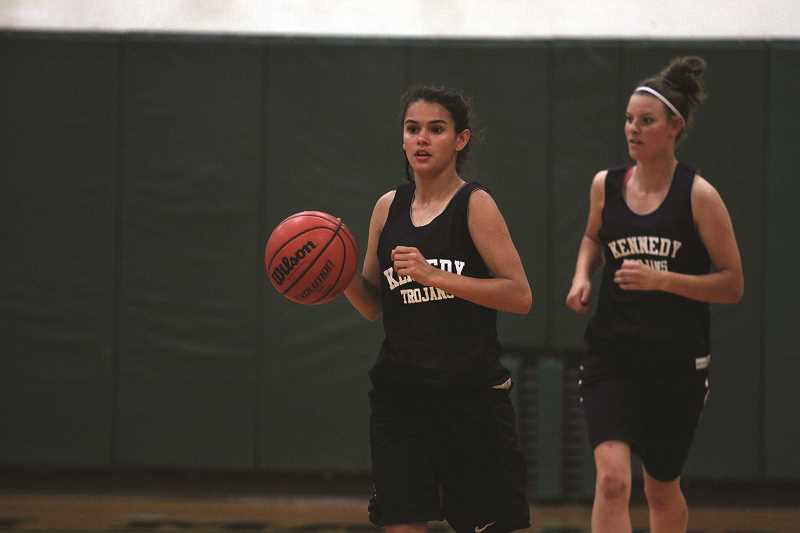 PHIL HAWKINS - After graduating their starting backcourt, the Kennedy girls basketball team will look to incoming senior Clarissa Traeger (middle) to move from the bench into the starting lineup for the 2018-19 season.
