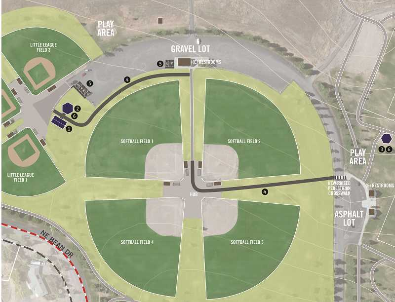 SUBMITTED ILLUSTRATION - The Juniper Hills Park Rehabilitation Project will include a restroom-concession facility and 40-foot hexagonal picnic shelter near the Little League fields, a hexagonal picnic shelter near the soccer fields on the east side of the park, and paved walkways connecting the two areas.