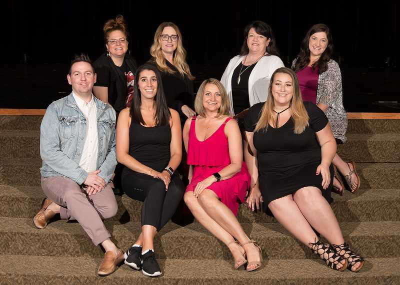 PHOTO CURTESY OF SPORTS PLUS PHOTOS/DAVID WEAVER - Top row, left to right: Innovative Dance staff members DJ Rayley, Michele Jakobson, Sherri Atwood and Megan Edwards; bottom row, left to right: Casey Davenport, Randell Leitch, Molly Kaleikilo and Jordan Daniels.