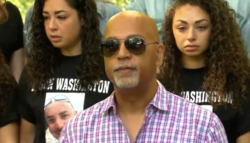 (Image is Clickable Link) COURTESY KOIN 6 NEWS  - Andre Washington speaks during a press conference on Friday, July 6 regarding Jason Washington, who was killed by Portland State University Police
