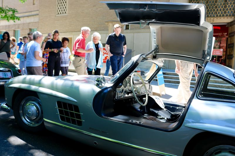 TRIBUNE PHOTO: ZANE SPARLING - The 1955 Mercedes Benz 300 SL is displayed at 'Cars in the Park' on Sunday, July 8.
