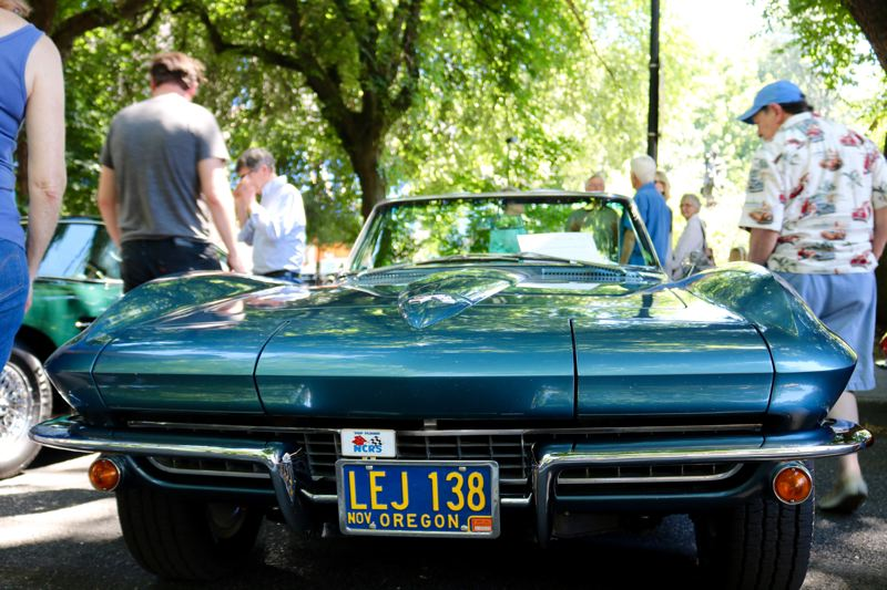 TRIBUNE PHOTO: ZANE SPARLING - A 1967 Chevrolet Corvette Roadster is displayed at 'Cars in the Park' on Sunday, July 8.