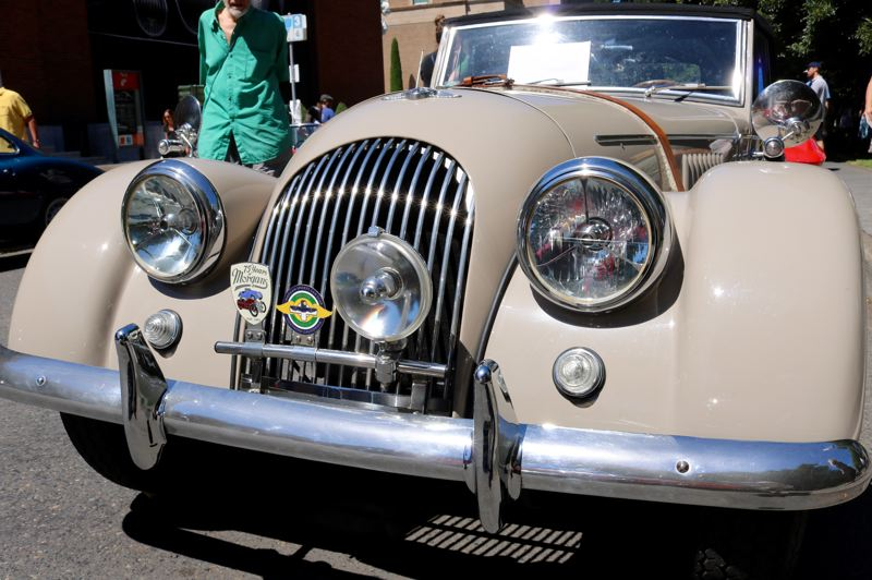 TRIBUNE PHOTO: ZANE SPARLING - A 1965 Morgan Drophead Coupe is displayed at 'Cars in the Park' on Sunday, July 8.