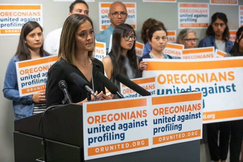 JONATHAN HOUSE/PORTLAND TRIBUNE - Andrea Williams, executive director of Causa, a statewide immigrant rights group, speaks to reporters about the launch of the official no campaign against Initiative Petition 22, which would repeal Oregon's 31-year-old sanctuary law.