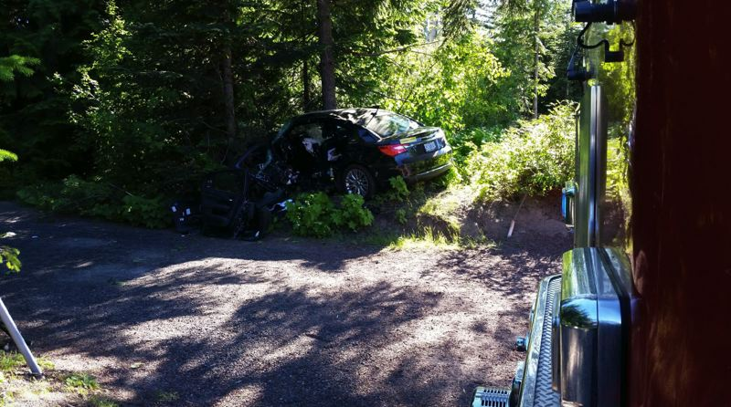 CONTRIBUTED PHOTO: OREGON STATE POLICE - Two people were hospitalized after a crash Saturday, July 7, near Government Camp.