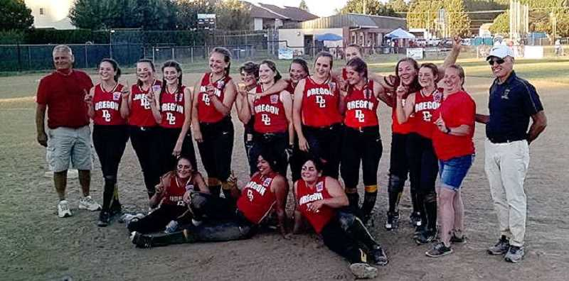 SUBMITTED PHOTO: FORREST RICHARDSON - The Oregon State Senior League Softball champions are from left to right: (standing) Coach Paul Matney, Liz Smith, Paige Pierce, Laina West, Madelyn