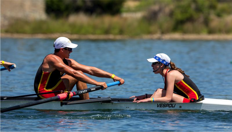 SUBMITTED PHOTO - Chase Emerson and his crew in the Rose City Rowing Club placed sixthout of 24 competitors at the national competition in Gold River, California.